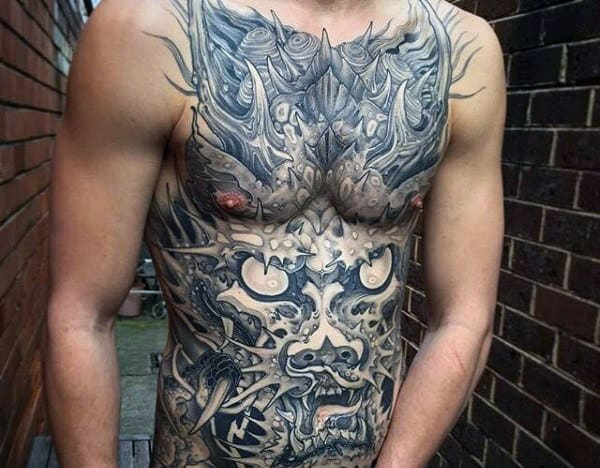 Amazing Japanese Dragon Guys Tattoos On Stomach