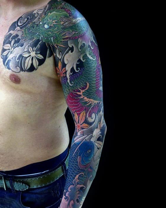 Amazing Japanese Sleeve Full Arm Dragon And Blue Koi Fish Tattoos For Men
