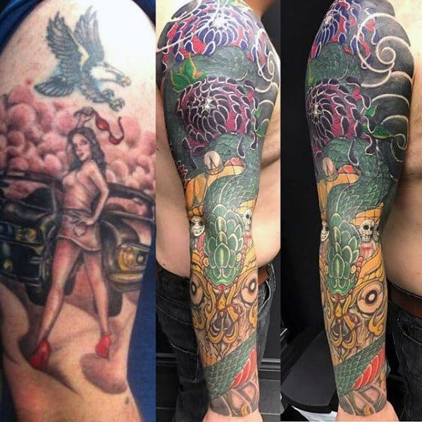 Amazing Japanese Tattoo Cover Up Sleeve For Men
