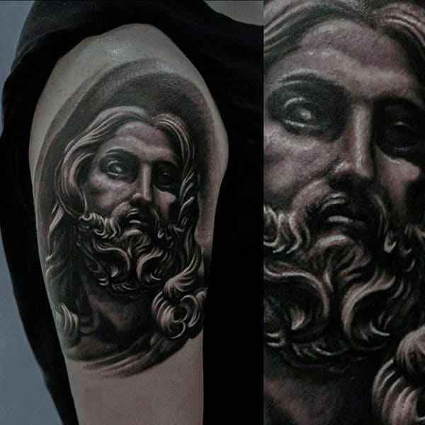 Amazing Jesus Male Tattoos On Upper Arm With Shaded Ink