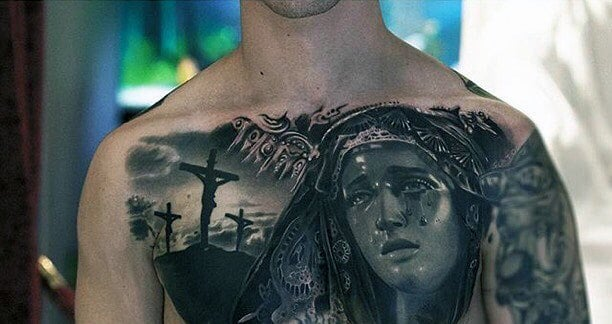 Amazing Jesus On The Cross Virgin Mary Guys Chest Tattoos