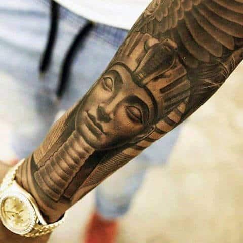 Amazing King Tutankhamun Forearm Sleeve Tattoos For Guys