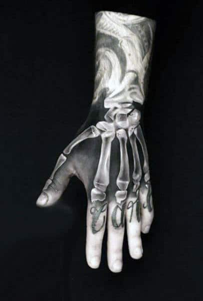 Amazing Knuckle X Ray Mens Tattoo