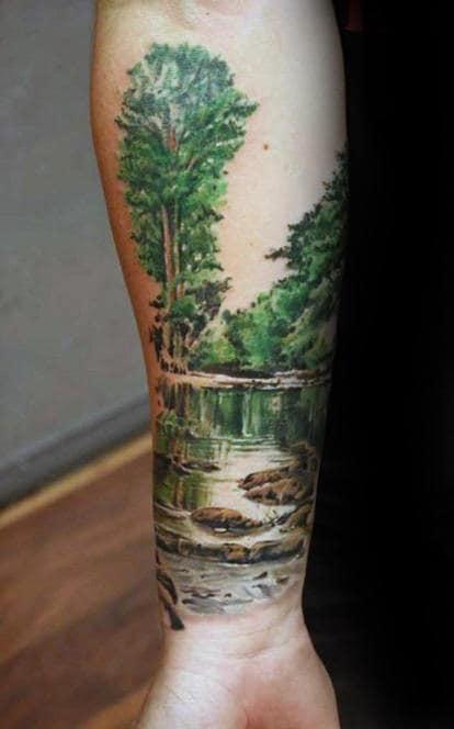 Amazing Landscape Guys Forearm Tattoo
