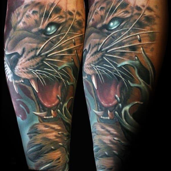 Amazing Leopard Sleeve Mens Tattoos