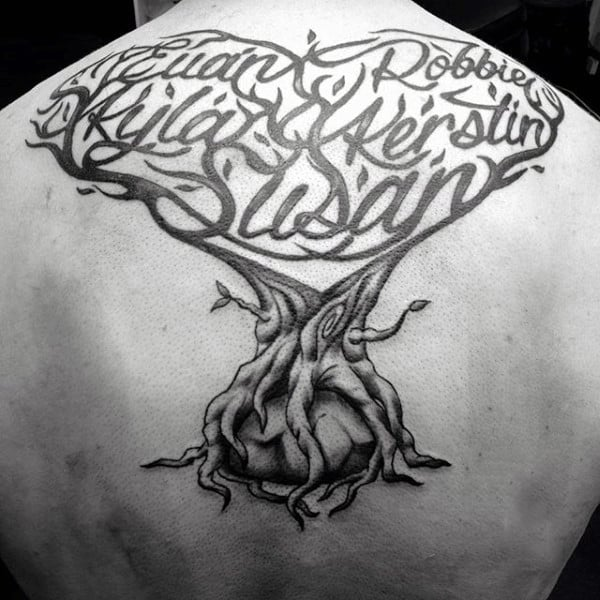 Amazing Lettering Tree Branch Names Male Family Tattoos