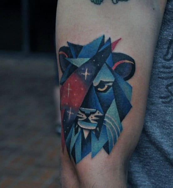 Amazing Lion Blue Ink Guys Arm Tattoo