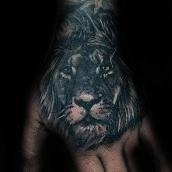 Amazing Lion Male Hand Tattoo Ideas