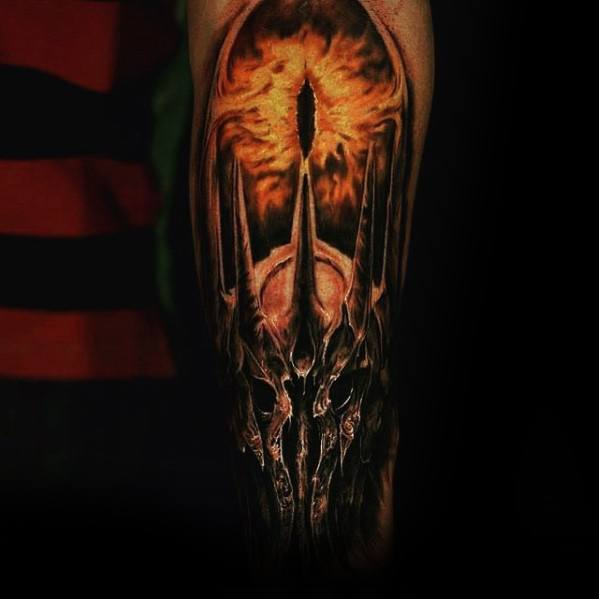 Amazing Lord Of The Rings Mens 3d Forearm Eye Of Sauron Tattoo Designs