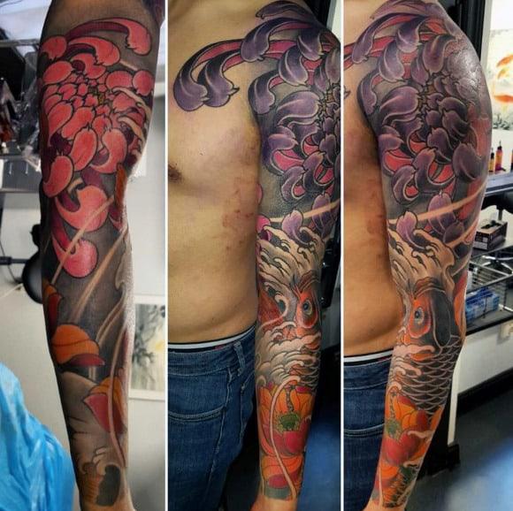 Amazing Lotus Flower Full Sleeve Tattoos For Males