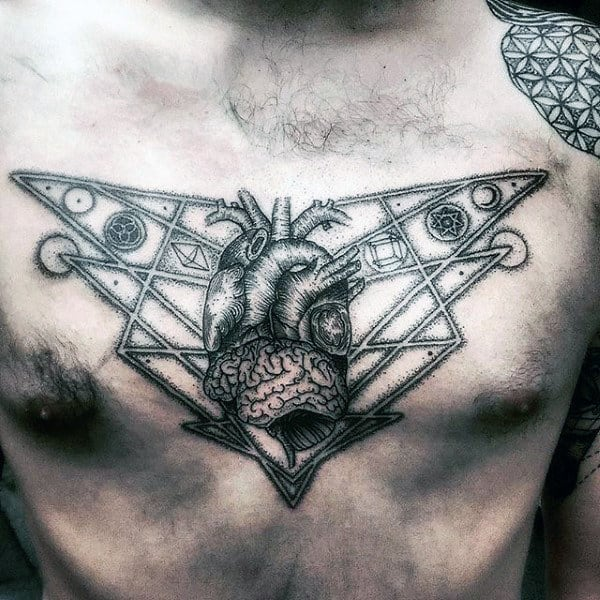 Amazing Magical Brain Tattoo Male Chest