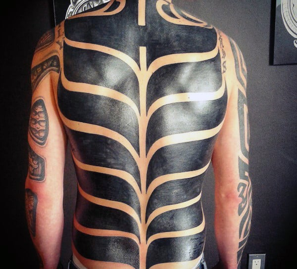Amazing Male Back Tattoo Tribal Blackwork