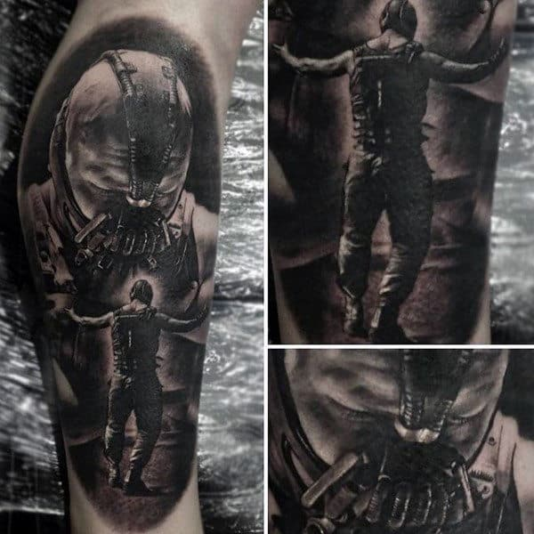 Amazing Male Bane Leg Tattoo