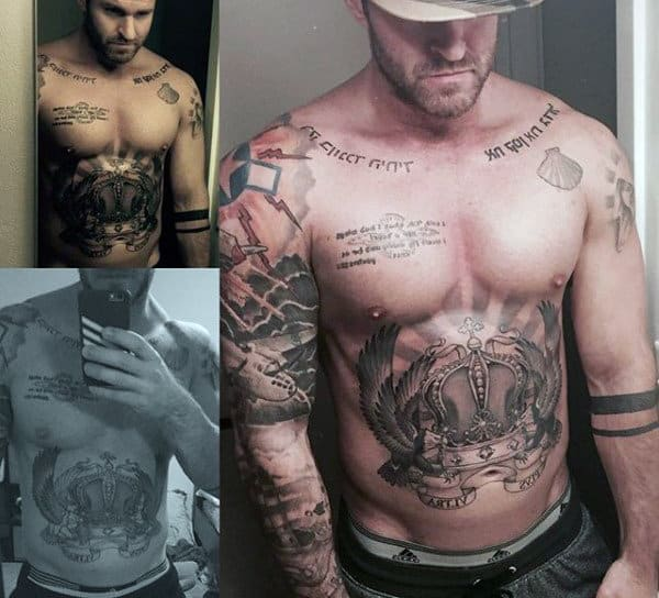 Amazing Male Crown With Angel Feathers Tattoo On Chest