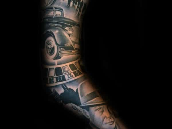 Amazing Male Gangster Themed Full Sleeve Tattoo Design Ideas