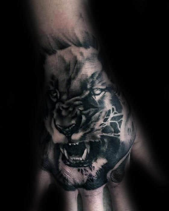 Amazing Male Lion Tattoo Designs On Hands