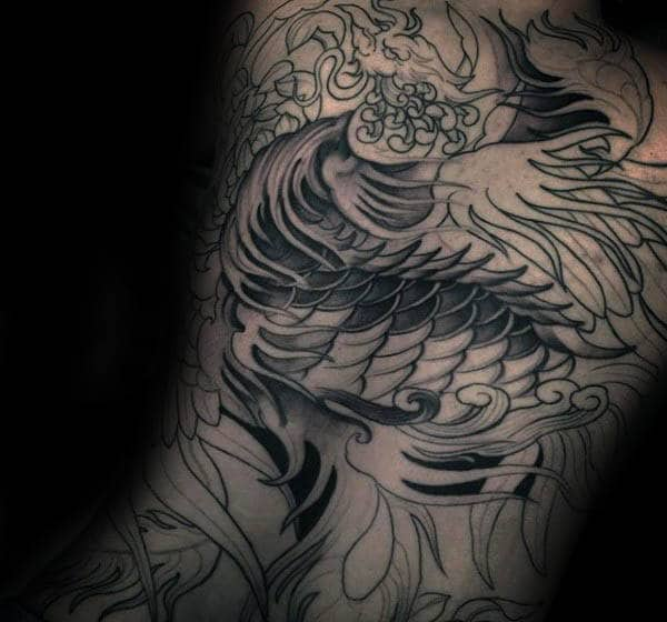 Amazing Male Phoenix Back Tattoo Inspiration Ideas