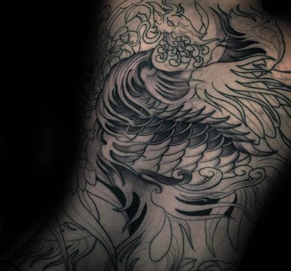 Amazing Male Phoenix Back Tattoo Inspiration Ideas