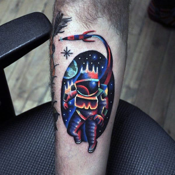 Amazing Male Watercolor Astronaut Spaceship Small Tattoo Ideas On Arm