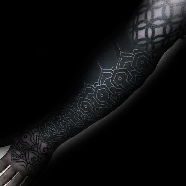 Amazing Male White Ink Over All Black Full Forearm Sleeve Pattern Tattoos