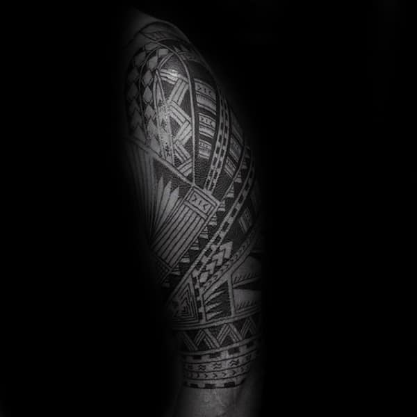 Amazing Masculine Guys Samoan Half Sleeve Traditional Tribal Tattoos
