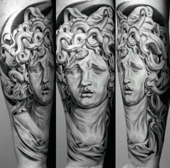 Amazing Medusa Art Tattoos For Men Half Sleeve