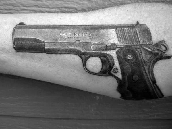 Amazing Mens 1911 Pistol Arm Tattoo Designs