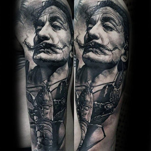Amazing Mens 3d Arm Salvador Dali Tattoo Designs