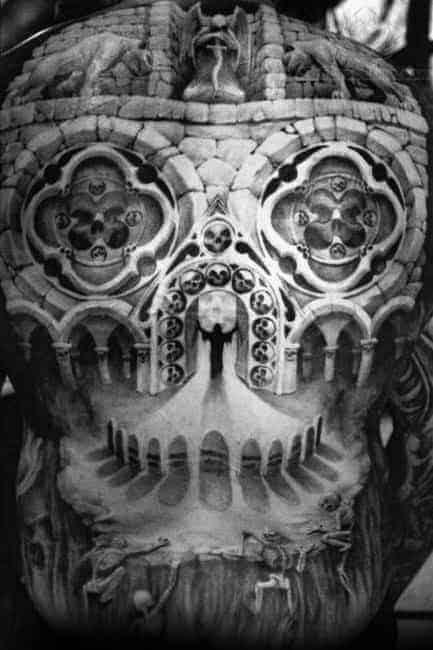 amazing-mens-3d-church-window-optical-illusion-skull-back-tattoo-designs
