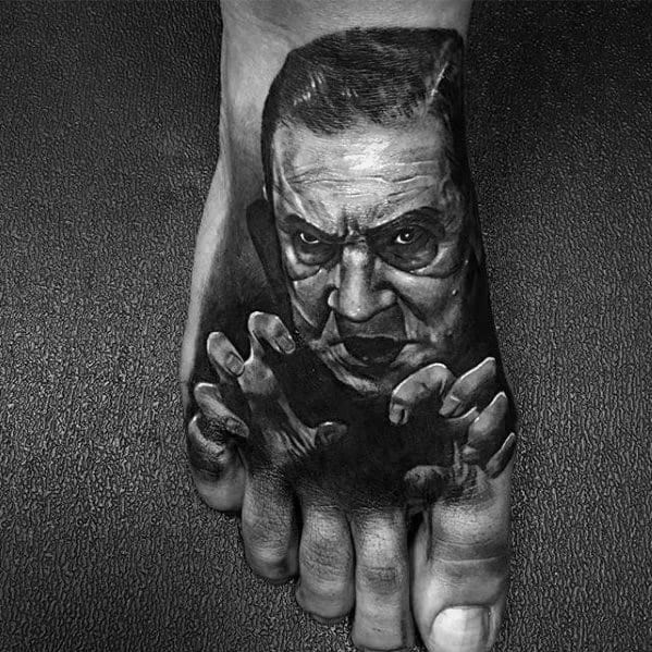 Amazing Mens 3d Dracula Foot Tattoo