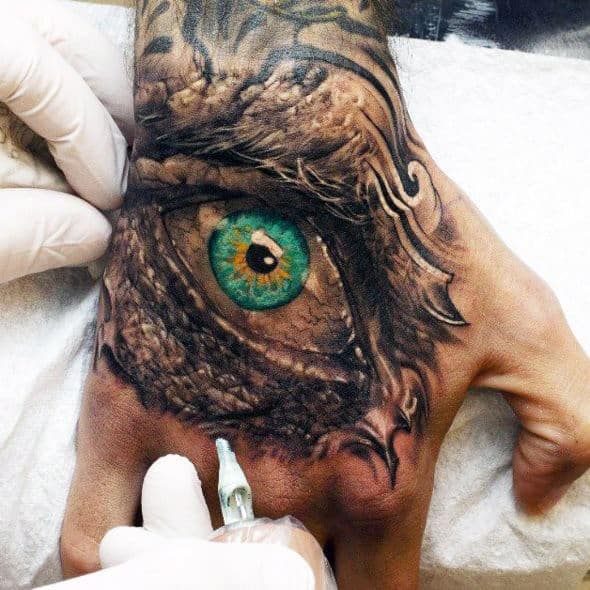 Amazing Mens 3d Eye Tattoo Design On Hands