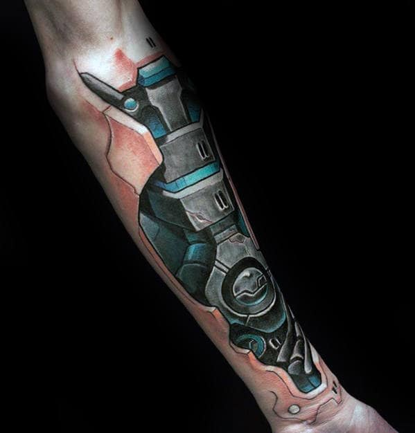 Amazing Mens 3d Gears Tattoo Design On Forearms