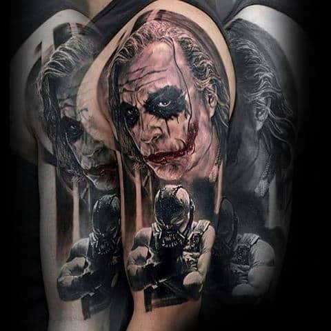 Amazing Mens 3d Joker Half Sleeve Tattoo Designs