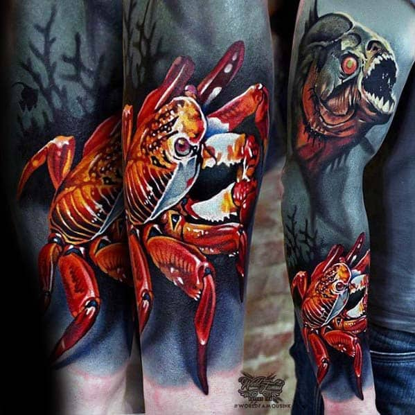 Amazing Mens 3d Ocean Underwater Sleeve Tattoo