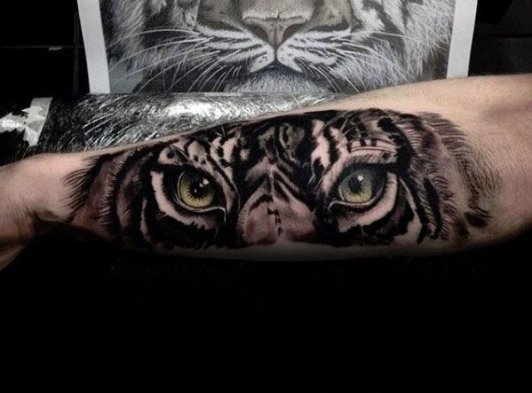 Amazing Mens 3d Outer Forearm Tiger Eyes Tattoo Designs