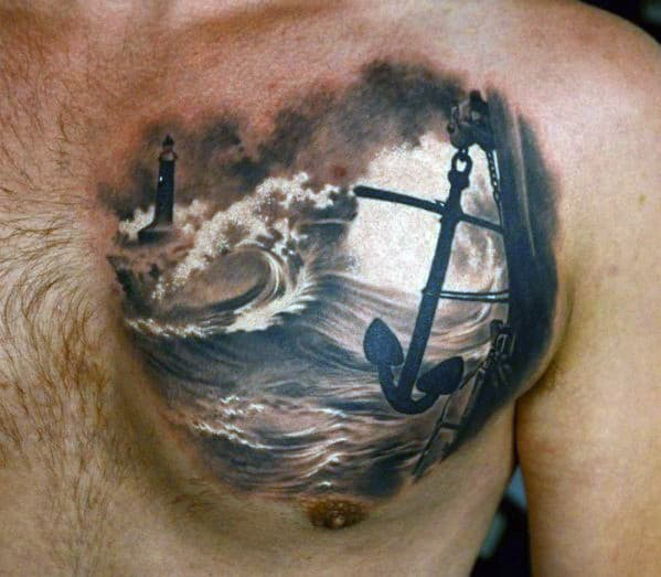 Amazing Mens 3d Realistic Anchor Tattoo Design On Chest