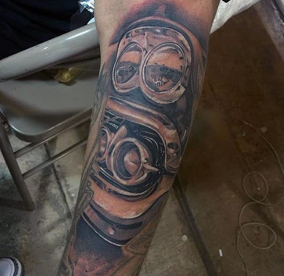 Amazing Mens 3d Realistic Chevy Car Forearm Sleeve Tattoo