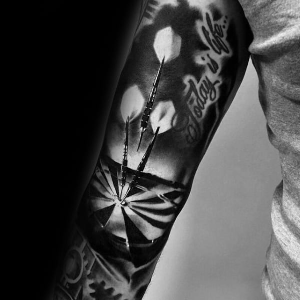 Amazing Mens 3d Realistic Darts Sports Tattoo Designs