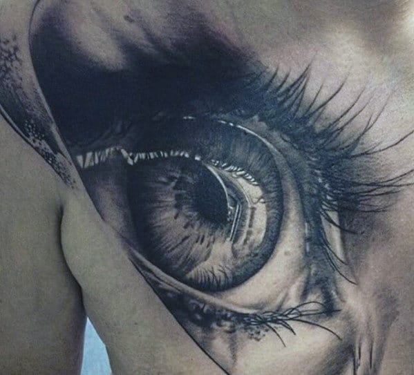 Amazing Mens 3d Realistic Eye Tattoo On Upper Chest