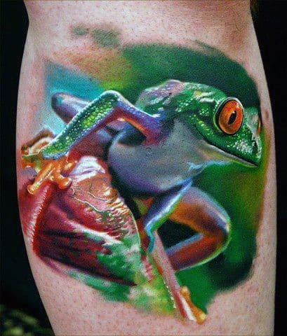 Amazing Mens 3d Realistic Frog Tattoo On Arm