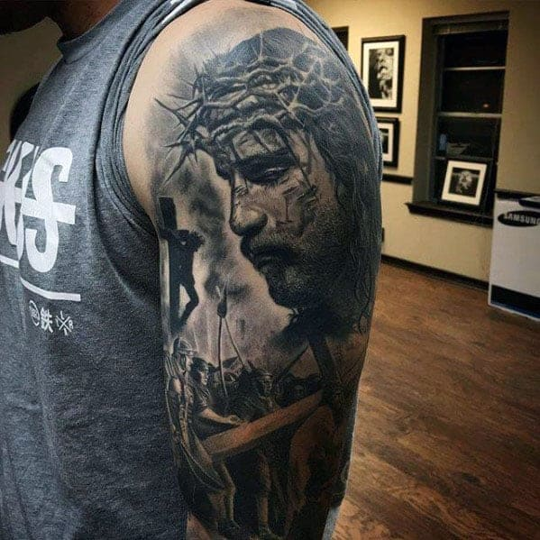 amazing-mens-3d-realistic-jesus-portrait-with-cross-half-sleeve-tattoos