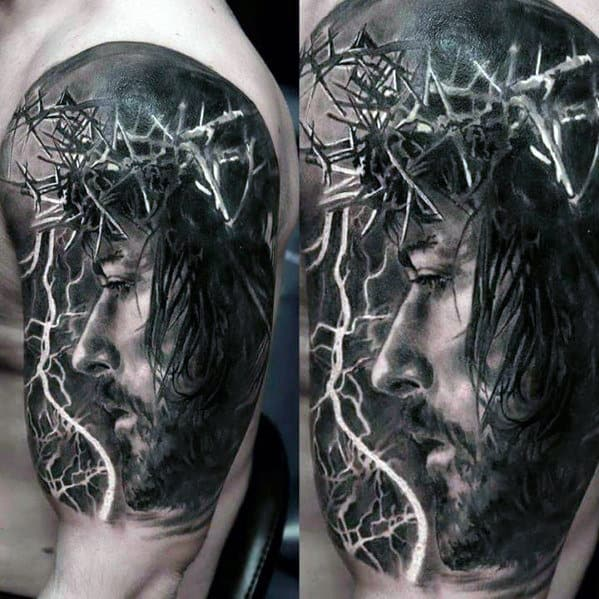 Amazing Mens 3d Realistic Jesus With Crown Of Thorns Half Sleeve Tattoos