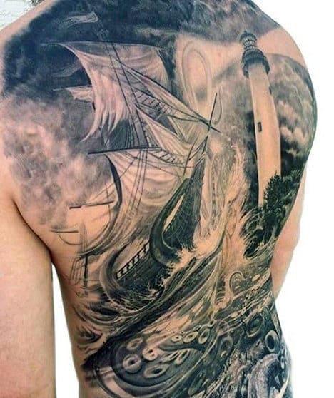 Amazing Mens 3d Realistic Octopus Sailing Ship Back Tattoo Ideas