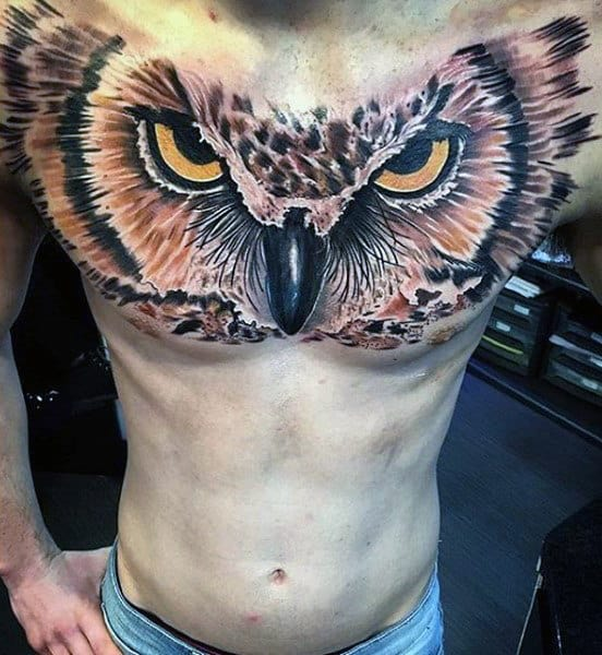 Amazing Mens 3d Realistic Owl Upper Chest Tattoos