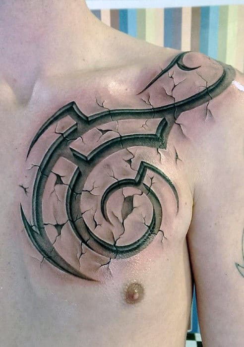 Amazing Mens 3d Traditional Tribal Shoulder And Upper Chest Tattoo