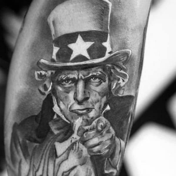 Amazing Mens 3d Uncle Sam Tattoo Designs