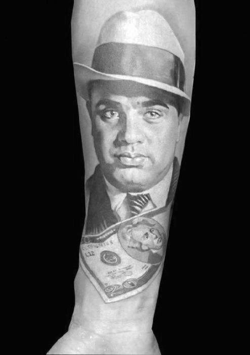 Amazing Mens Al Capone Forearm Tattoo Designs