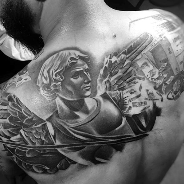 Amazing Mens Angel Statue 3d Upper Back Tattoo Designs
