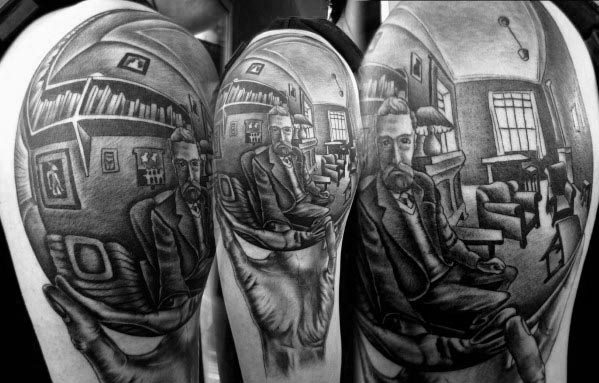 Amazing Mens Arm Mc Escher Tattoo Designs