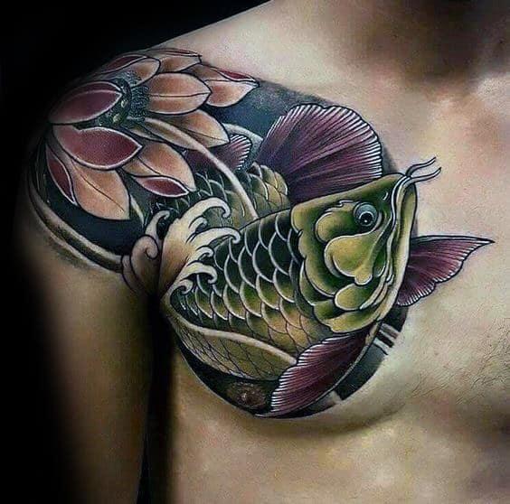 Amazing Mens Arowana Tattoo Designs On Upper Chest